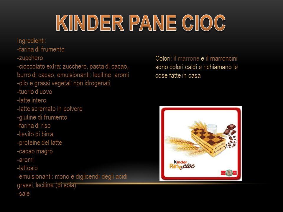 Ingredienti: -farina di frumento -zucchero -cioccolato extra: zucchero, pasta di cacao, burro di cacao, emulsionanti: lecitine, aromi -olio e grassi vegetali non idrogenati -tuorlo d'uovo -latte intero -latte scremato in polvere -glutine di frumento -farina di riso -lievito di birra -proteine del latte -cacao magro -aromi -lattosio -emulsionanti: mono e digliceridi degli acidi grassi, lecitine (di soia) -sale Colori: il marrone e il marroncini sono colori caldi e richiamano le cose fatte in casa