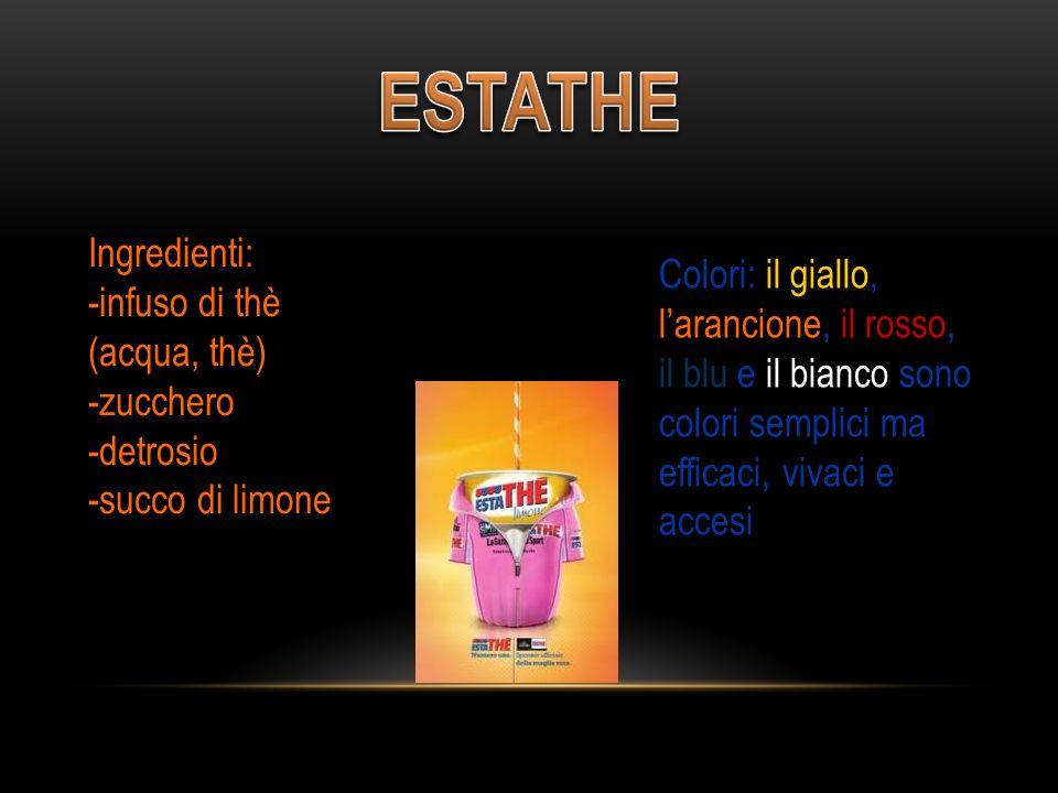 Ingredienti: -infuso di thè (acqua, thè) -zucchero -detrosio -succo di limone Colori: il giallo, l'arancione, il rosso, il blu e il bianco sono colori semplici ma efficaci, vivaci e accesi Ingredienti: -infuso di thè (acqua, thè) -zucchero -detrosio -succo di limone