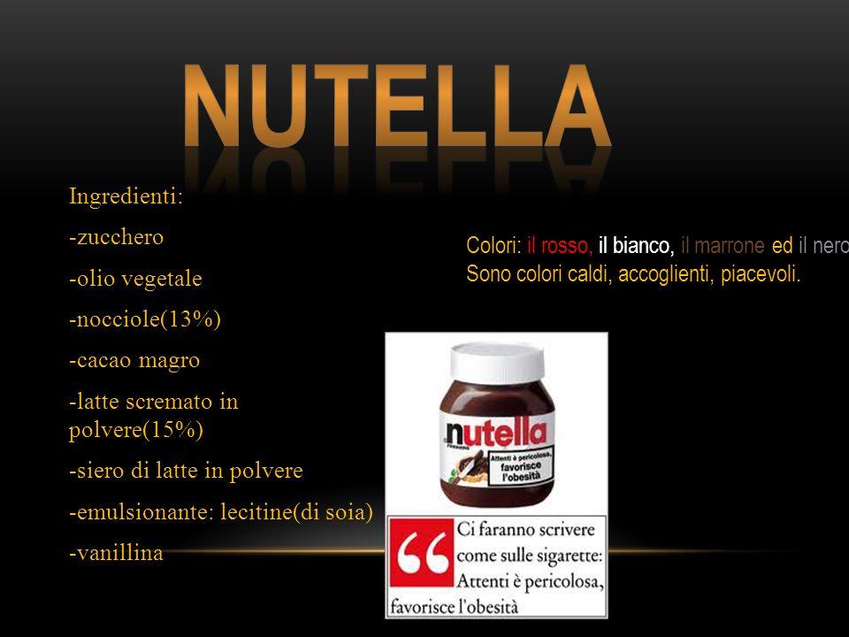 Ingredienti: -zucchero -olio vegetale -nocciole(13%) -cacao magro -latte scremato in polvere(15%) -siero di latte in polvere -emulsionante: lecitine(di soia) -vanillina Colori: il rosso, il bianco, il marrone ed il nero Sono colori caldi, accoglienti, piacevoli.