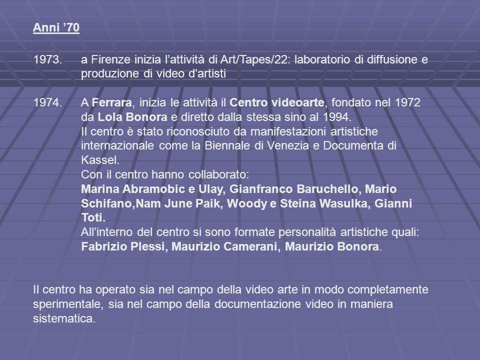Anni '70 1973.a Firenze inizia l'attività di Art/Tapes/22: laboratorio di diffusione e produzione di video d'artisti 1974.