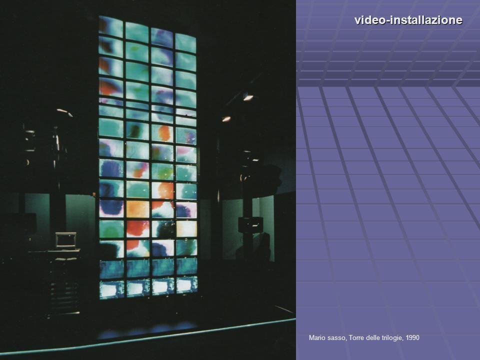 video-installazione Mario sasso, Torre delle trilogie, 1990