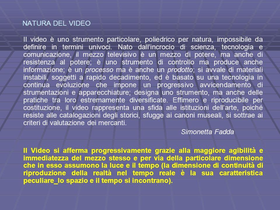 NATURA DEL VIDEO Il video è uno strumento particolare, poliedrico per natura, impossibile da definire in termini univoci.