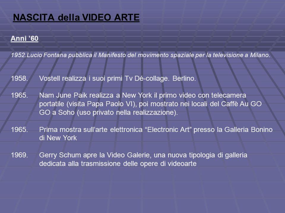 NASCITA della VIDEO ARTE Anni '60 1952.Lucio Fontana pubblica il Manifesto del movimento spaziale per la televisione a Milano.