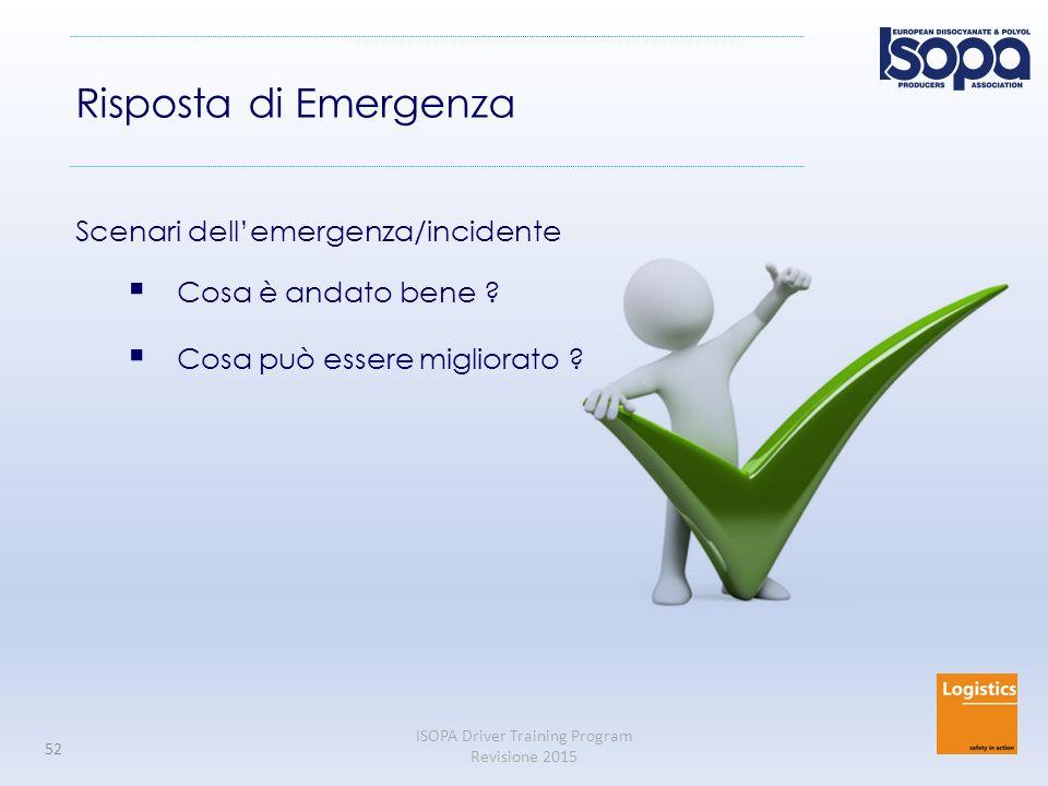 ISOPA Driver Training Program Revisione 2015 52 Risposta di Emergenza Scenari dell'emergenza/incidente  Cosa è andato bene .