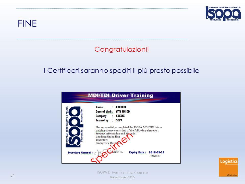 ISOPA Driver Training Program Revisione 2015 54 FINE Congratulazioni.