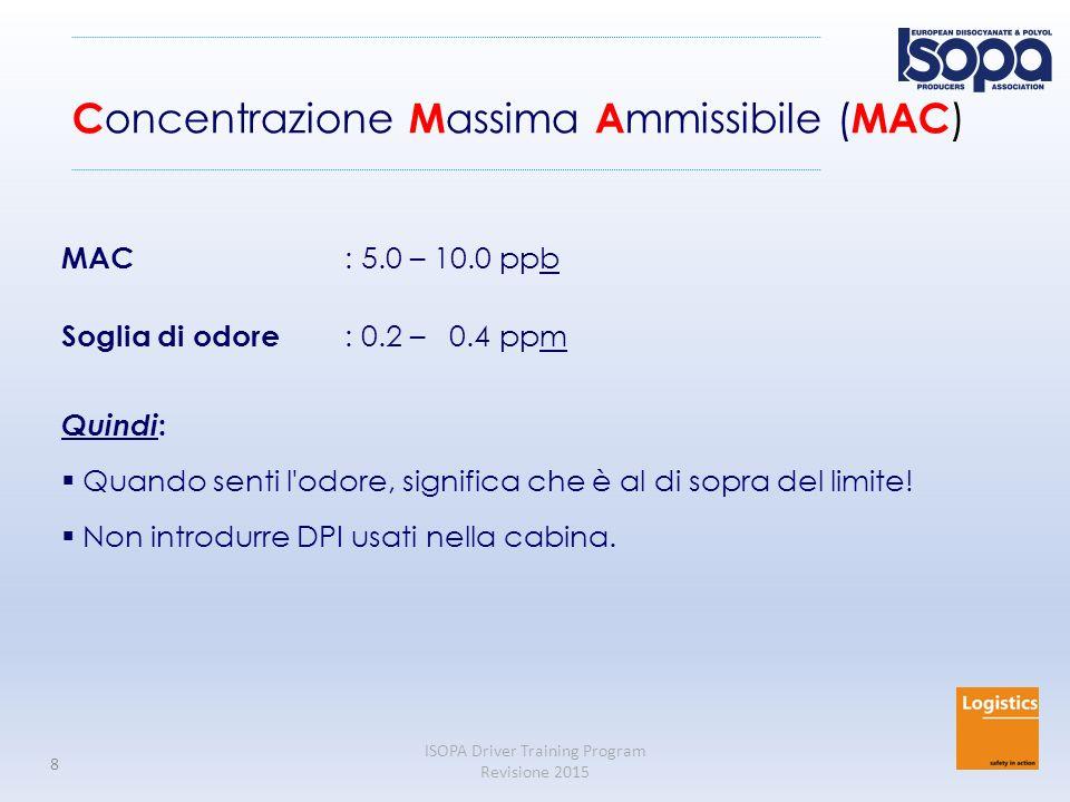 ISOPA Driver Training Program Revisione 2015 8 C oncentrazione M assima A mmissibile ( MAC ) MAC : 5.0 – 10.0 ppb Soglia di odore : 0.2 – 0.4 ppm Quindi :  Quando senti l odore, significa che è al di sopra del limite.