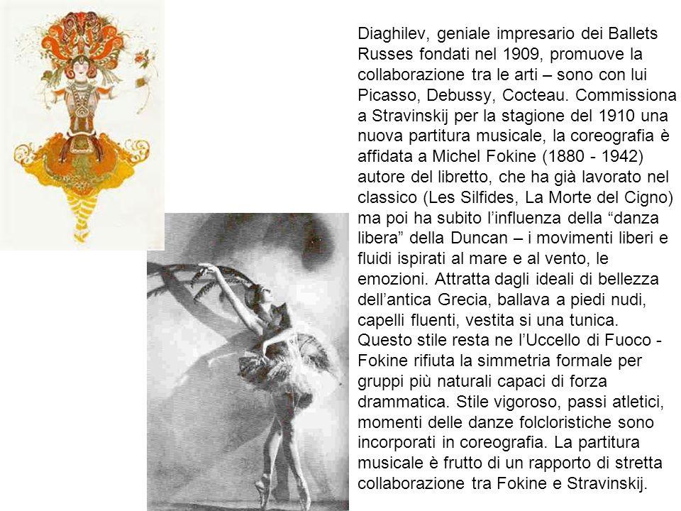 Diaghilev, geniale impresario dei Ballets Russes fondati nel 1909, promuove la collaborazione tra le arti – sono con lui Picasso, Debussy, Cocteau.