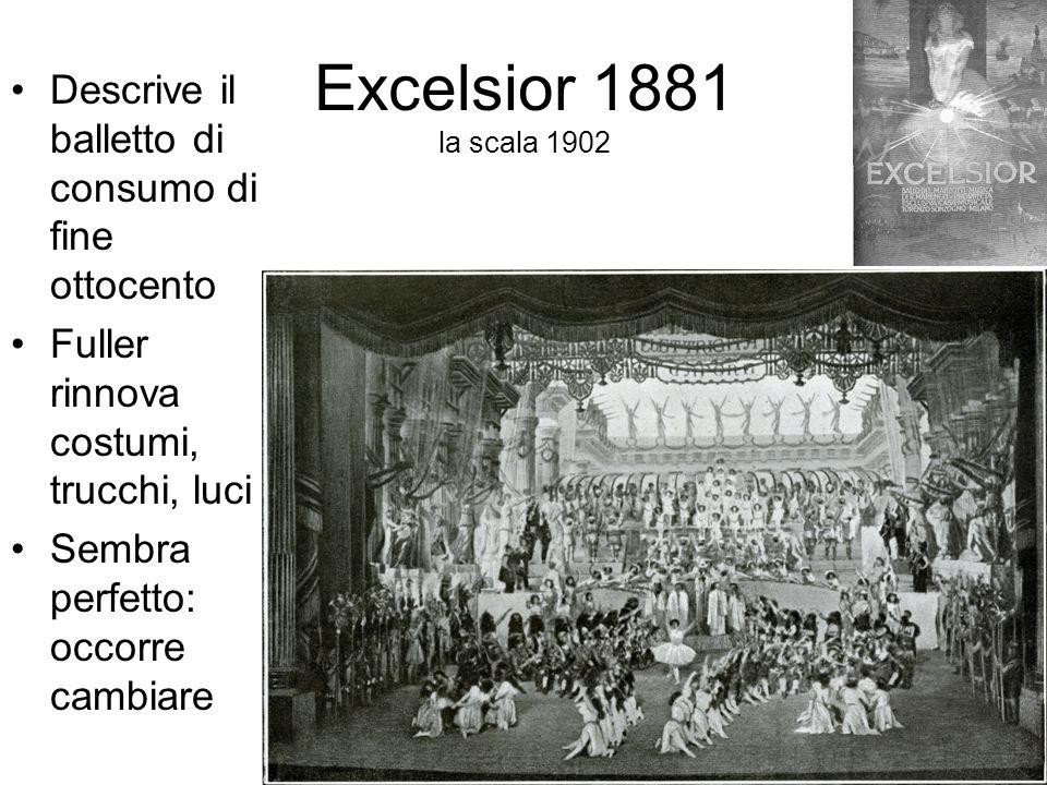 Excelsior 1881 la scala 1902 Descrive il balletto di consumo di fine ottocento Fuller rinnova costumi, trucchi, luci Sembra perfetto: occorre cambiare
