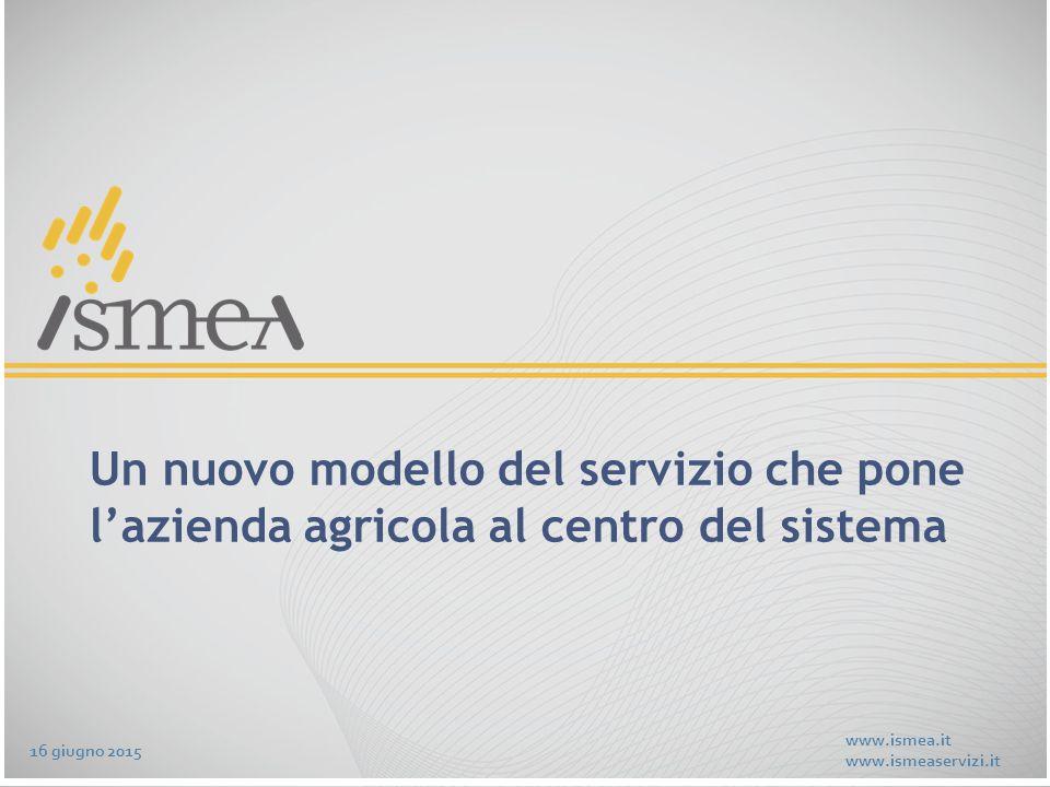 www.ismea.it www.ismeaservizi.it Un nuovo modello del servizio che pone l'azienda agricola al centro del sistema 16 giugno 2015