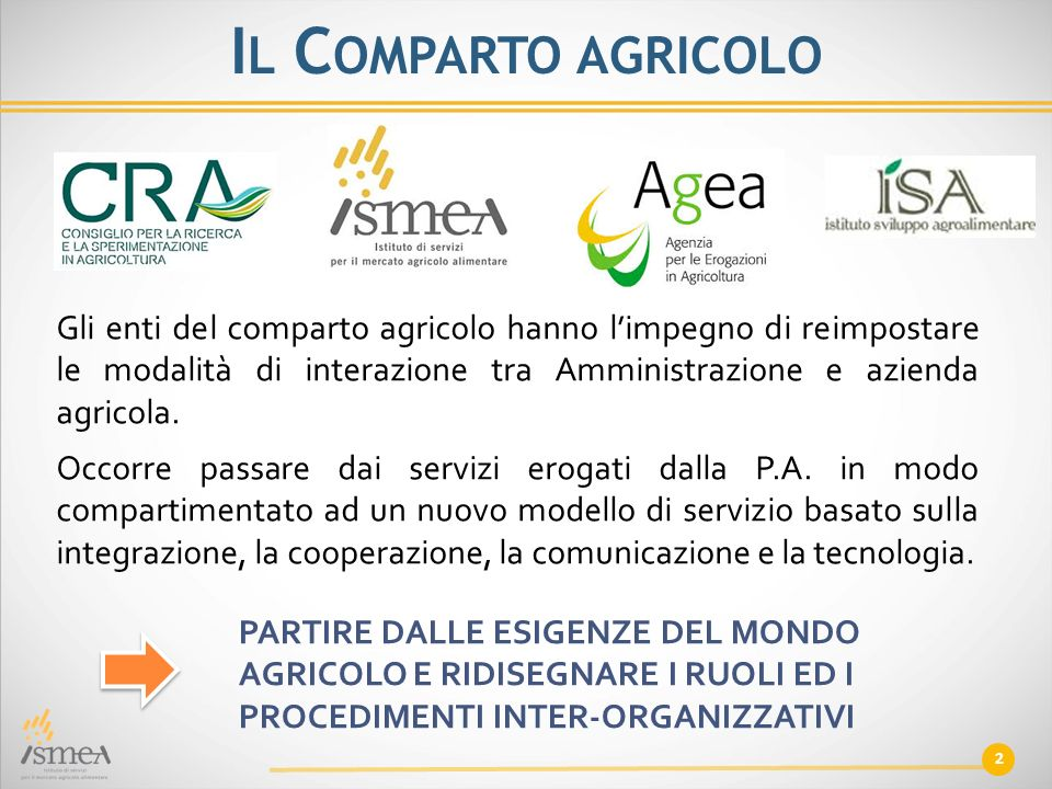 2 I L C OMPARTO AGRICOLO Gli enti del comparto agricolo hanno l'impegno di reimpostare le modalità di interazione tra Amministrazione e azienda agrico