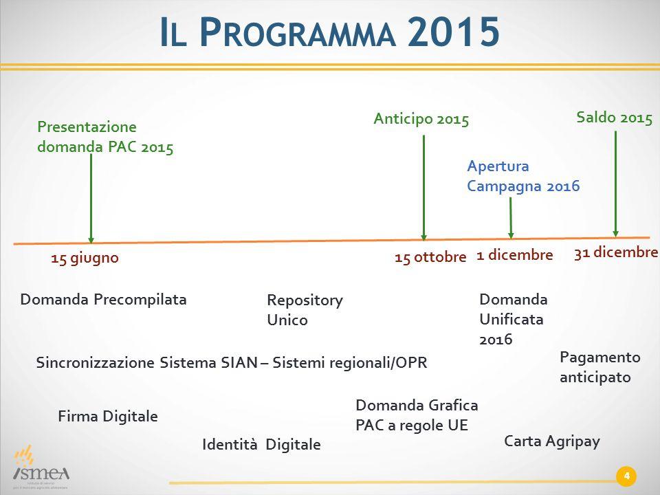 4 I L P ROGRAMMA 2015 Presentazione domanda PAC 2015 Anticipo 2015 Saldo 2015 Apertura Campagna 2016 15 giugno 15 ottobre 1 dicembre 31 dicembre Doman