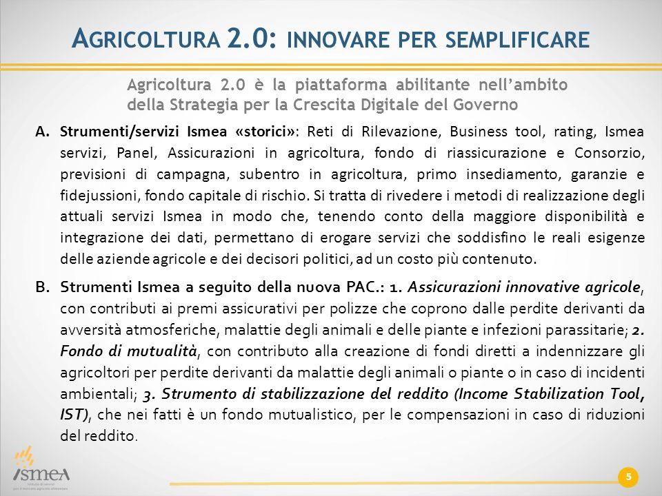 5 A GRICOLTURA 2.0: INNOVARE PER SEMPLIFICARE Agricoltura 2.0 è la piattaforma abilitante nell'ambito della Strategia per la Crescita Digitale del Gov