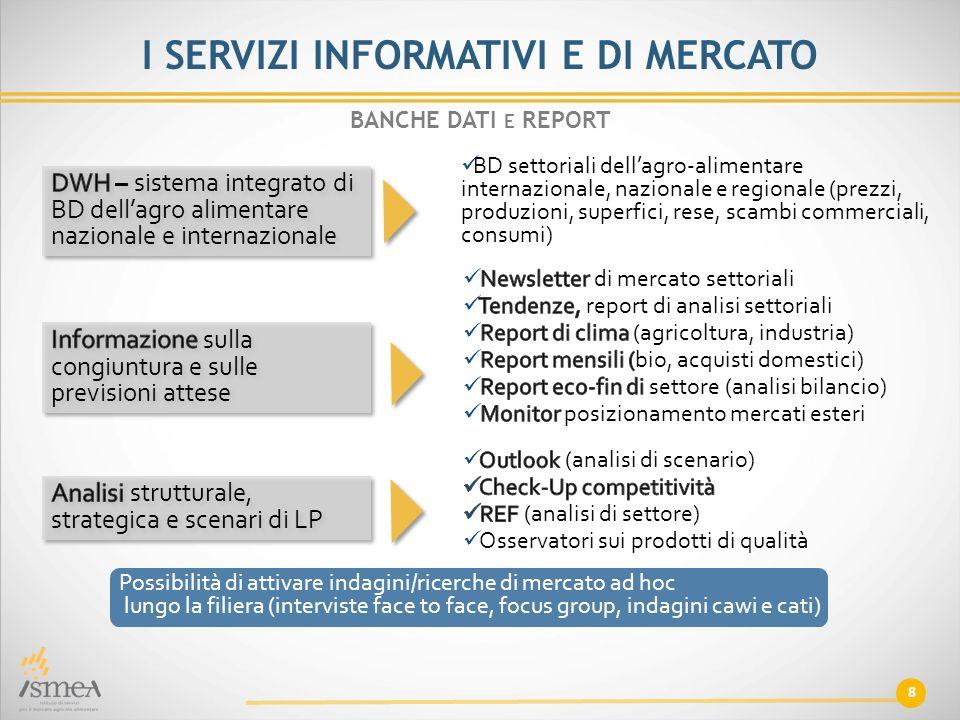BD settoriali dell'agro-alimentare internazionale, nazionale e regionale (prezzi, produzioni, superfici, rese, scambi commerciali, consumi) 8 BANCHE D