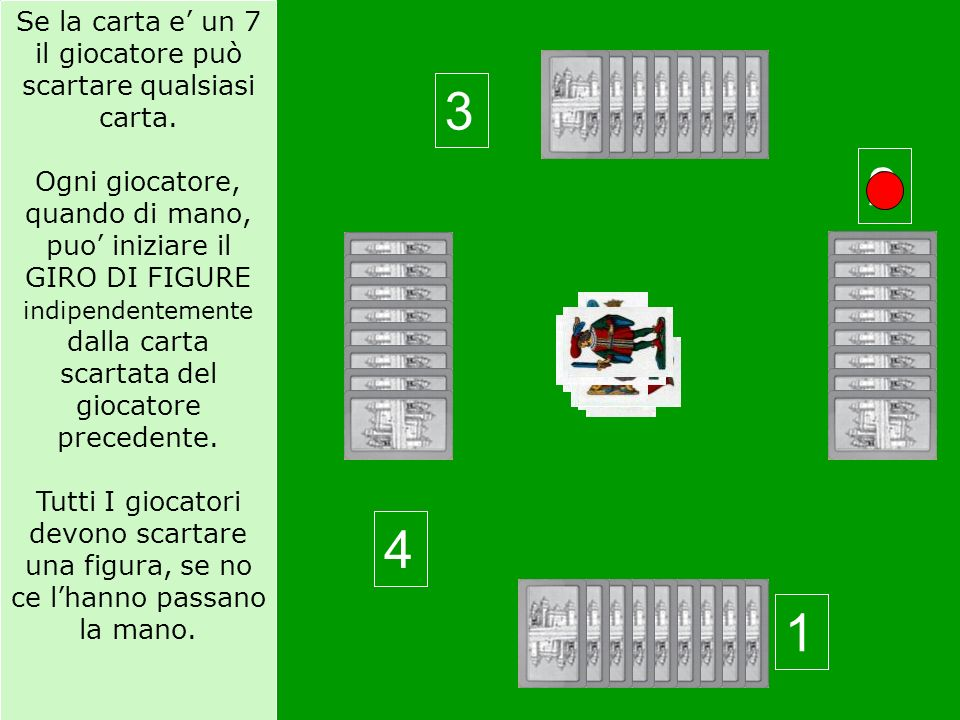 Se la carta e' un 7 il giocatore può scartare qualsiasi carta.