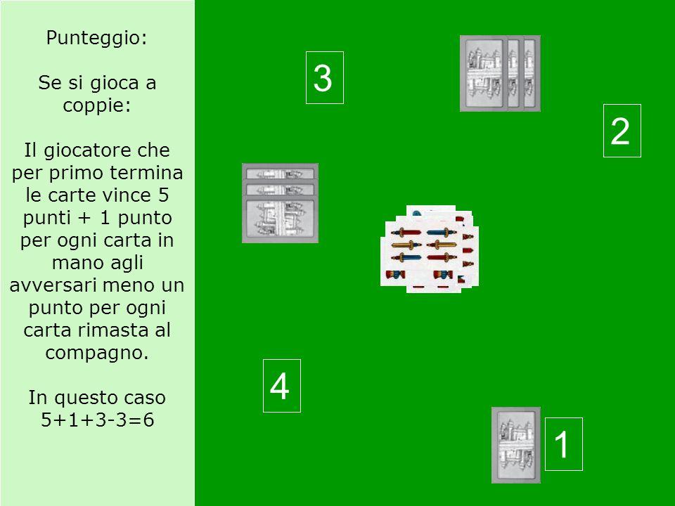 Punteggio: Se si gioca a coppie: Il giocatore che per primo termina le carte vince 5 punti + 1 punto per ogni carta in mano agli avversari meno un punto per ogni carta rimasta al compagno.