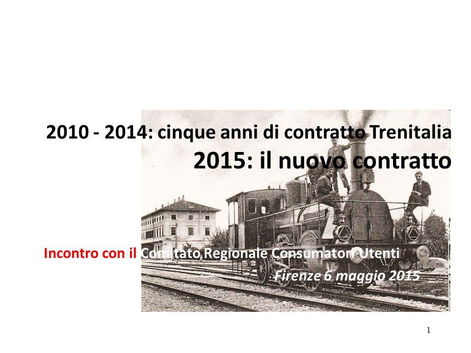 1 2010 - 2014: cinque anni di contratto Trenitalia 2015: il nuovo contratto Incontro con il Comitato Regionale Consumatori Utenti Firenze 6 maggio 2015