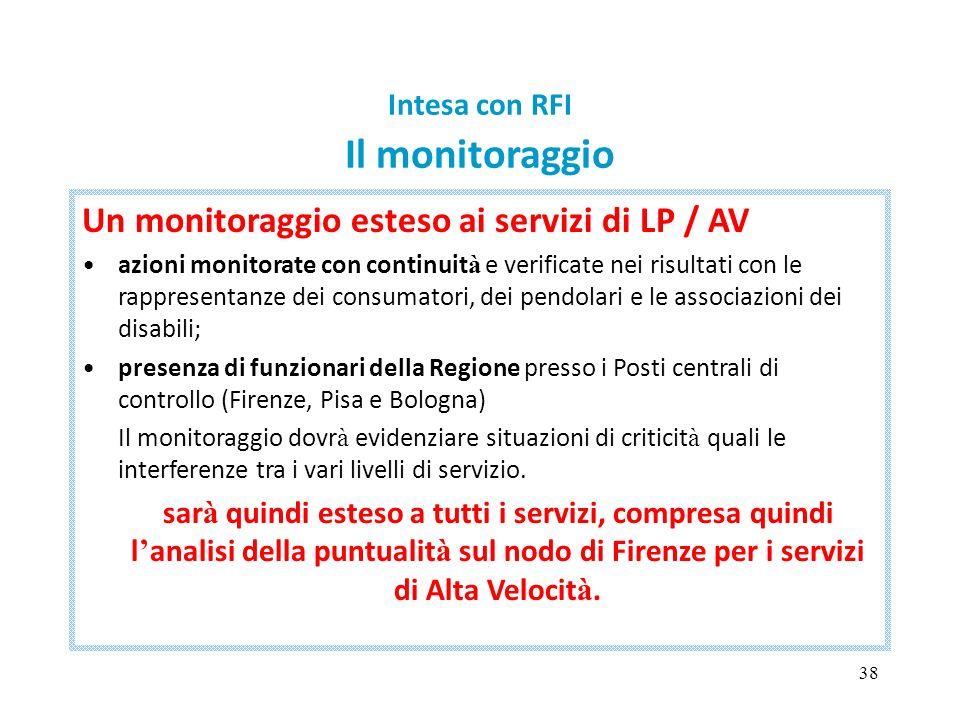 38 Intesa con RFI Il monitoraggio Un monitoraggio esteso ai servizi di LP / AV azioni monitorate con continuit à e verificate nei risultati con le rap