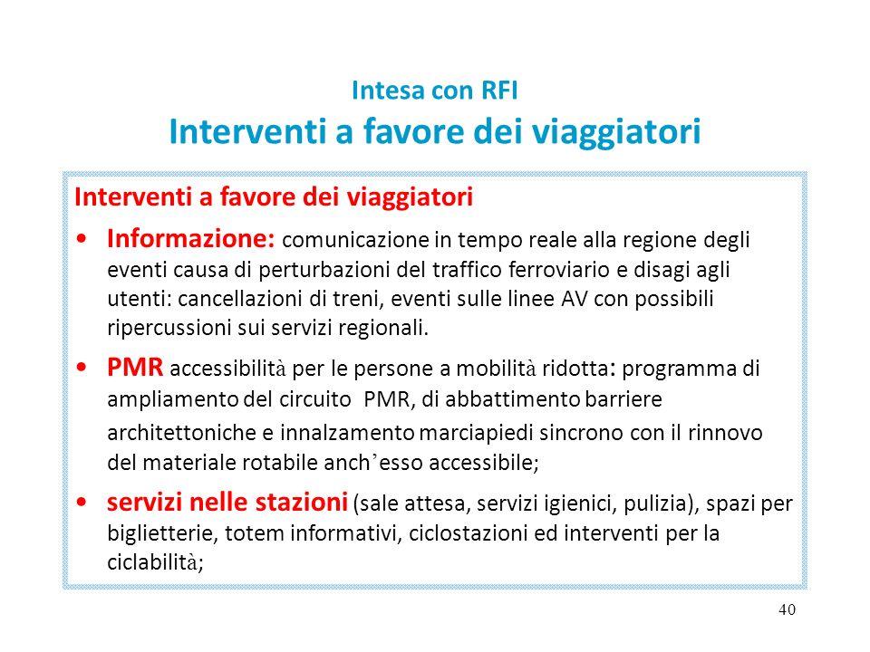 40 Intesa con RFI Interventi a favore dei viaggiatori Interventi a favore dei viaggiatori Informazione: comunicazione in tempo reale alla regione degl