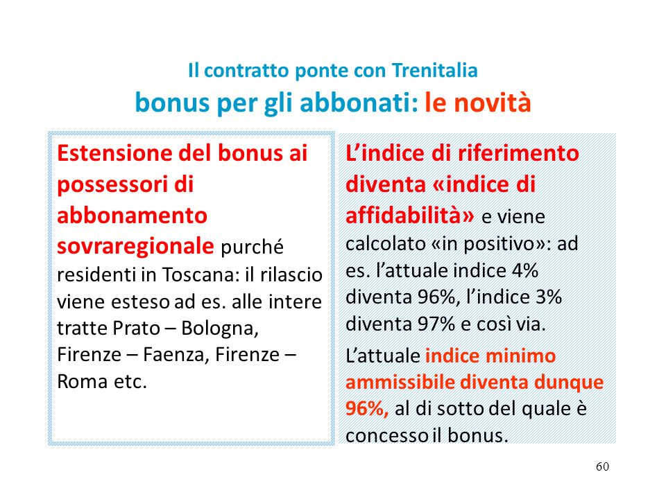 60 Il contratto ponte con Trenitalia bonus per gli abbonati: le novità Estensione del bonus ai possessori di abbonamento sovraregionale purché residenti in Toscana: il rilascio viene esteso ad es.