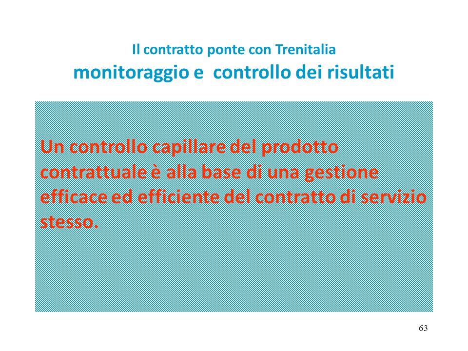 63 Un controllo capillare del prodotto contrattuale è alla base di una gestione efficace ed efficiente del contratto di servizio stesso. Il contratto