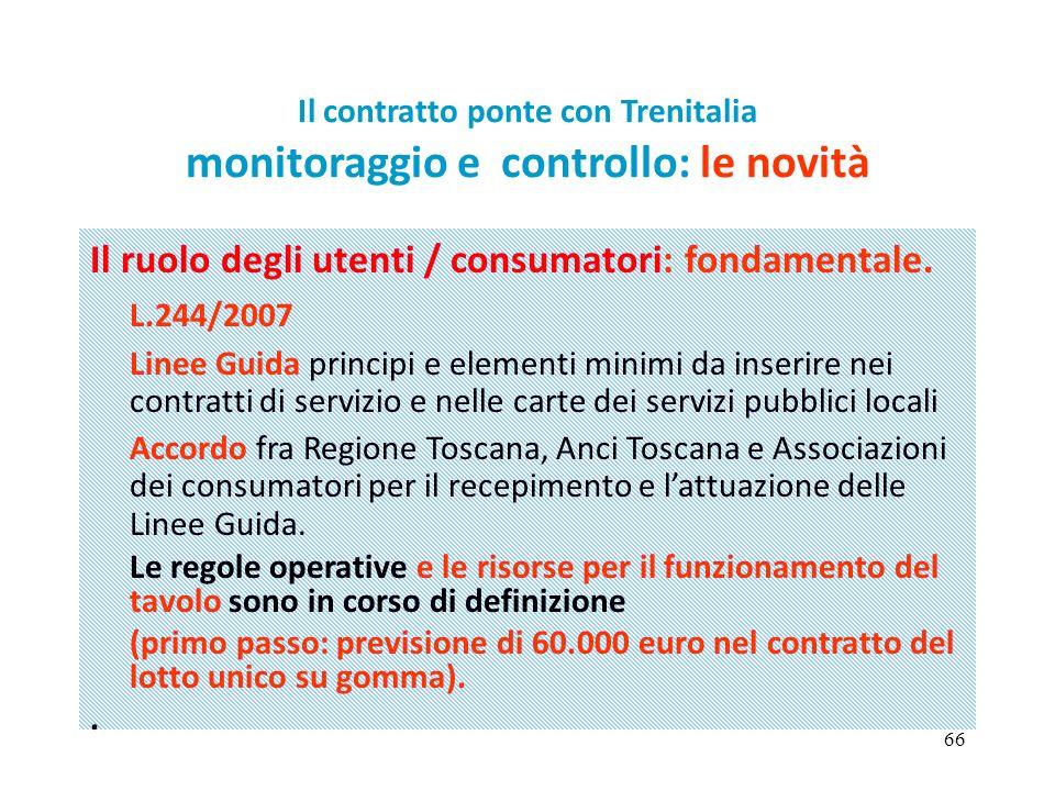 66 Il contratto ponte con Trenitalia monitoraggio e controllo: le novità Il ruolo degli utenti / consumatori: fondamentale. L.244/2007 Linee Guida pri