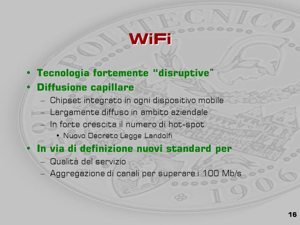 16 WiFi Tecnologia fortemente disruptive Diffusione capillare –Chipset integrato in ogni dispositivo mobile –Largamente diffuso in ambito aziendale –In forte crescita il numero di hot-spot Nuovo Decreto Legge Landolfi In via di definizione nuovi standard per –Qualità del servizio –Aggregazione di canali per superare i 100 Mb/s
