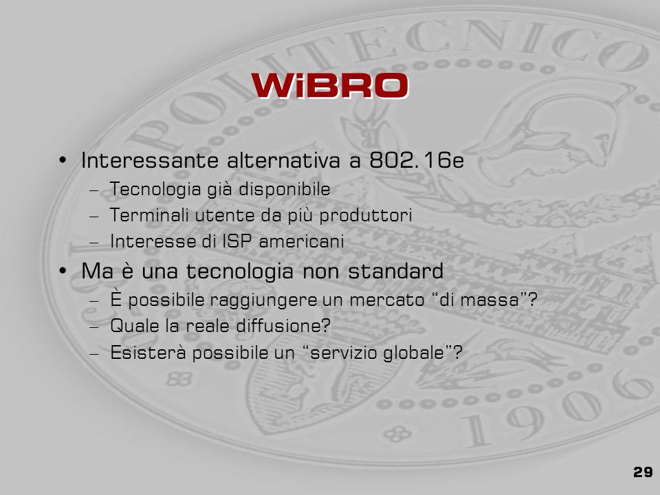 29 WiBRO Interessante alternativa a 802.16e –Tecnologia già disponibile –Terminali utente da più produttori –Interesse di ISP americani Ma è una tecnologia non standard –È possibile raggiungere un mercato di massa .