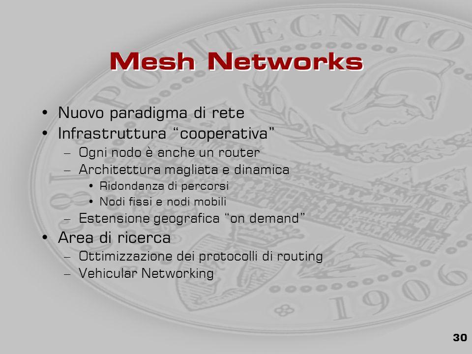 30 Mesh Networks Nuovo paradigma di rete Infrastruttura cooperativa –Ogni nodo è anche un router –Architettura magliata e dinamica Ridondanza di percorsi Nodi fissi e nodi mobili –Estensione geografica on demand Area di ricerca –Ottimizzazione dei protocolli di routing –Vehicular Networking
