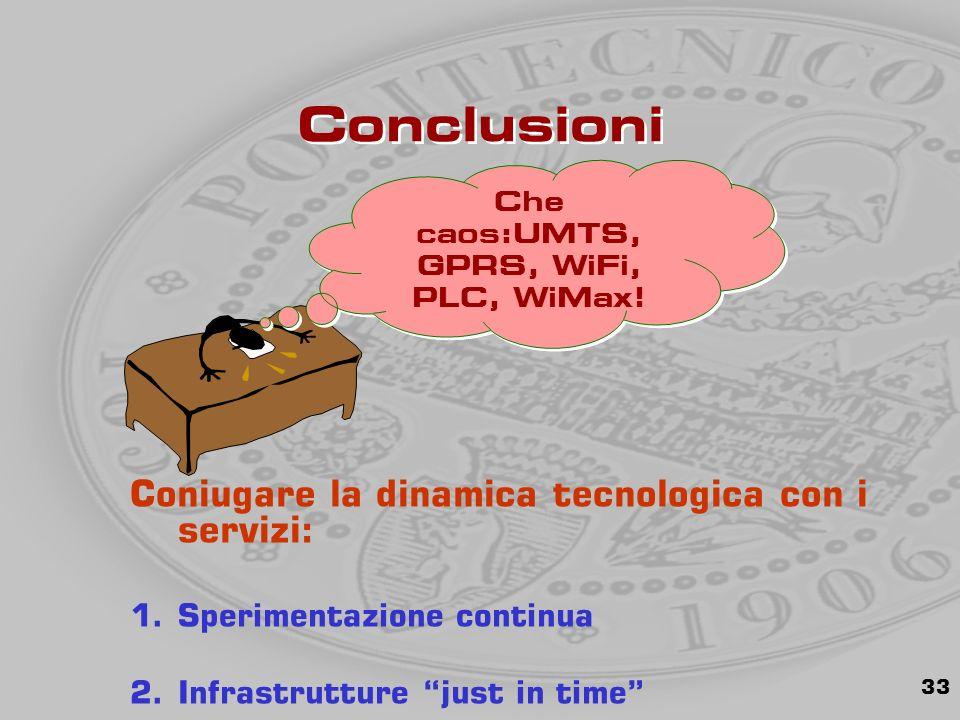 33 Conclusioni Coniugare la dinamica tecnologica con i servizi: 1.Sperimentazione continua 2.Infrastrutture just in time Che caos:UMTS, GPRS, WiFi, PLC, WiMax!