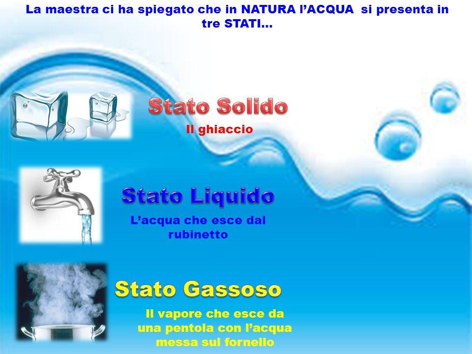 La maestra ci ha spiegato che in NATURA l'ACQUA si presenta in tre STATI… Il ghiaccio L'acqua che esce dal rubinetto Il vapore che esce da una pentola con l'acqua messa sul fornello