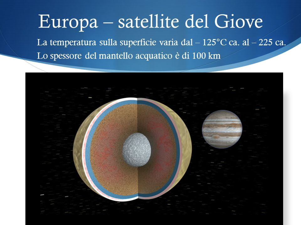 Europa – satellite del Giove La temperatura sulla superficie varia dal – 125°C ca.