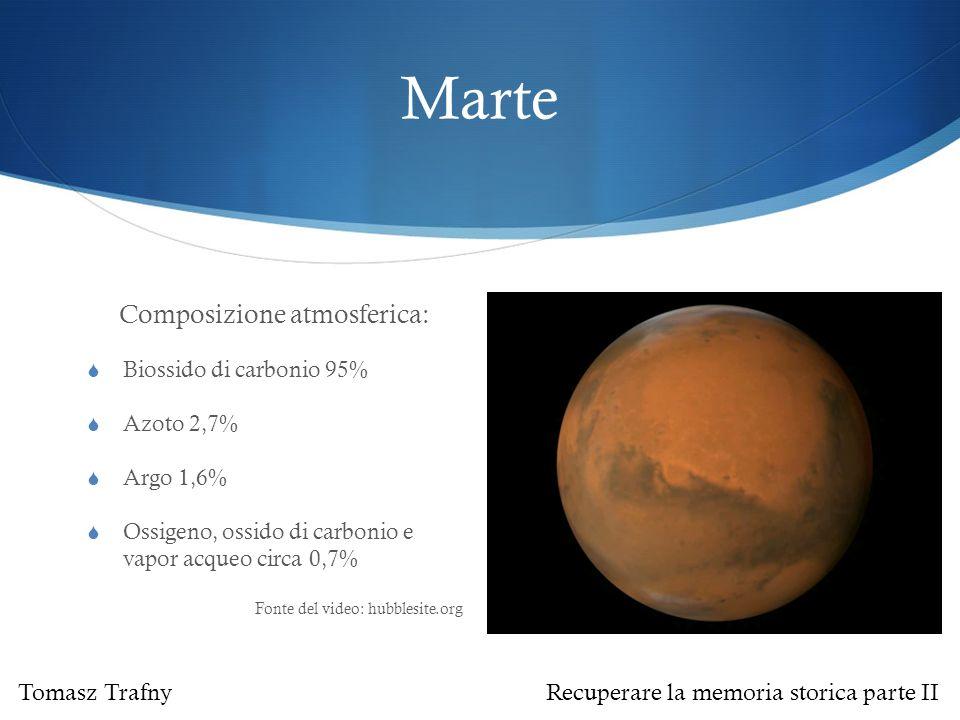 Marte Composizione atmosferica:  Biossido di carbonio 95%  Azoto 2,7%  Argo 1,6%  Ossigeno, ossido di carbonio e vapor acqueo circa 0,7% Fonte del video: hubblesite.org Tomasz Trafny Recuperare la memoria storica parte II