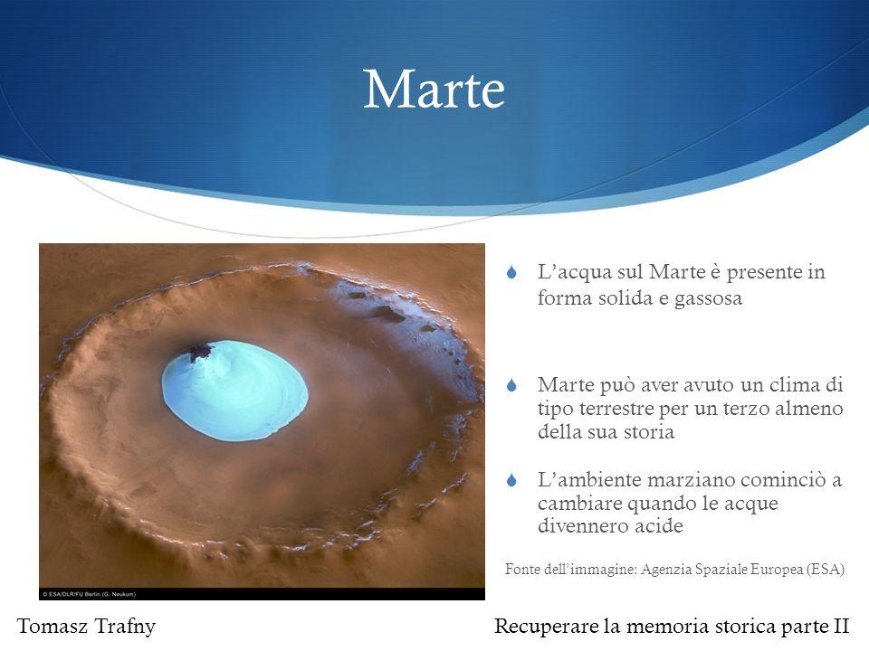 Marte  Marte può aver avuto un clima di tipo terrestre per un terzo almeno della sua storia  L'ambiente marziano cominciò a cambiare quando le acque divennero acide Fonte dell'immagine: Agenzia Spaziale Europea (ESA)  L'acqua sul Marte è presente in forma solida e gassosa Tomasz Trafny Recuperare la memoria storica parte II