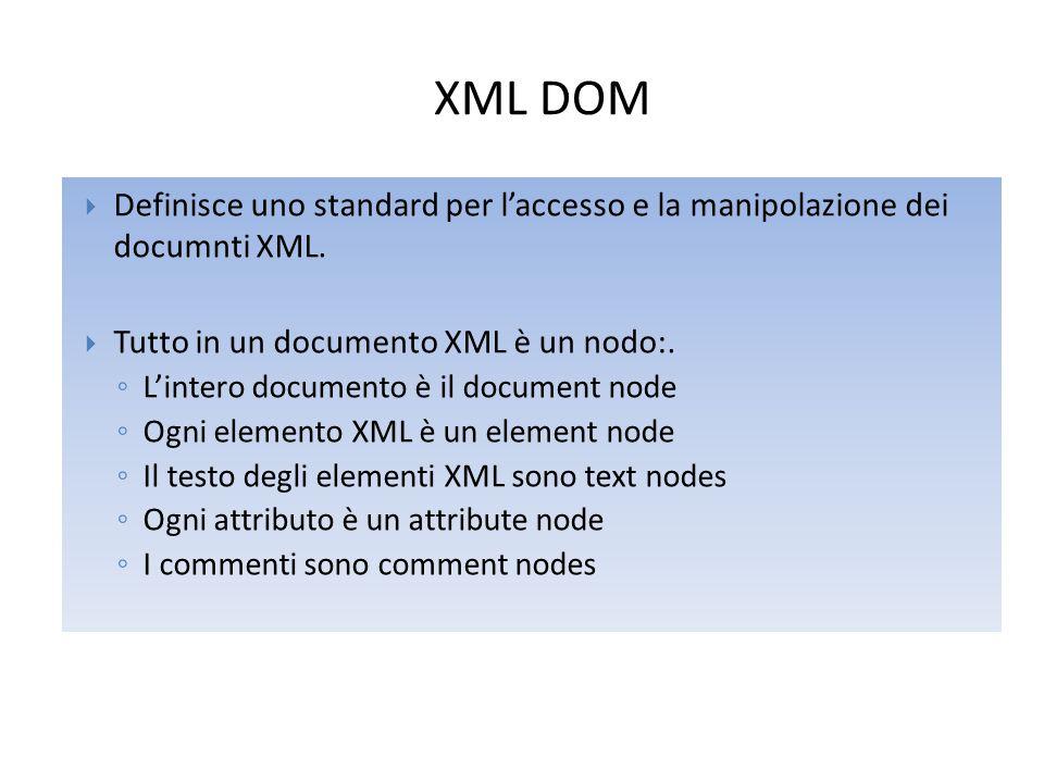 XML DOM  Definisce uno standard per l'accesso e la manipolazione dei documnti XML.  Tutto in un documento XML è un nodo:. ◦ L'intero documento è il