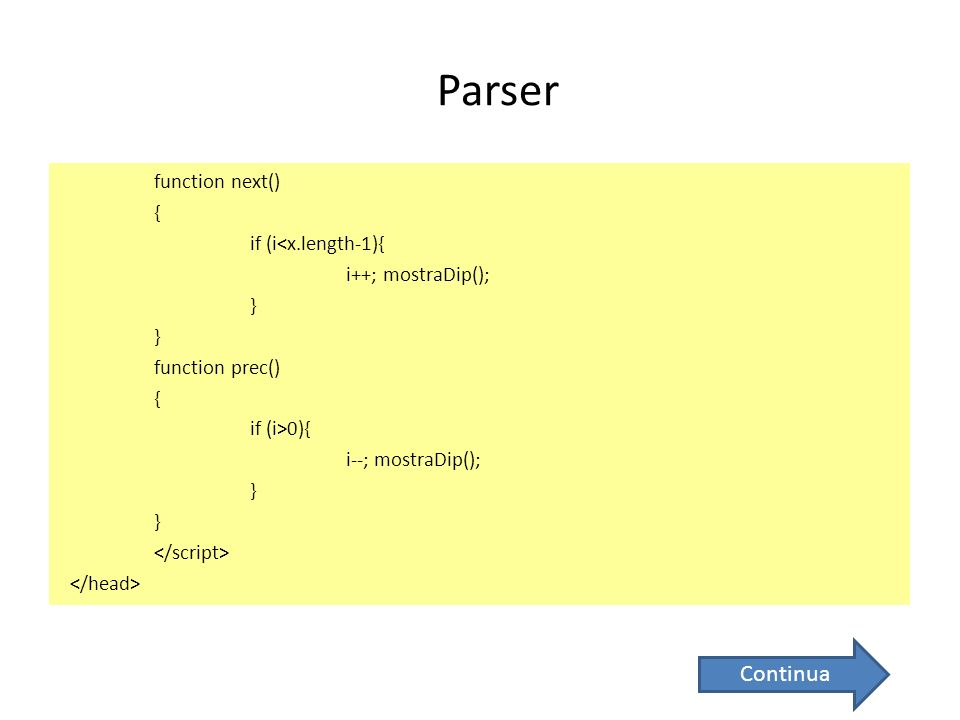 Parser function next() { if (i<x.length-1){ i++; mostraDip(); } function prec() { if (i>0){ i--; mostraDip(); } Continua