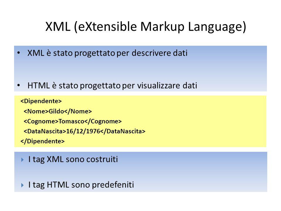 XML (eXtensible Markup Language)  Separazione tra dati e visualizzazione  Condivisione dei dati  Comunicazione tra sistemi eterogenei  Indipendente dalla piattaforma (aggiornamenti o migrazioni)  Dati più accessibili (news feeds, disabili, …)