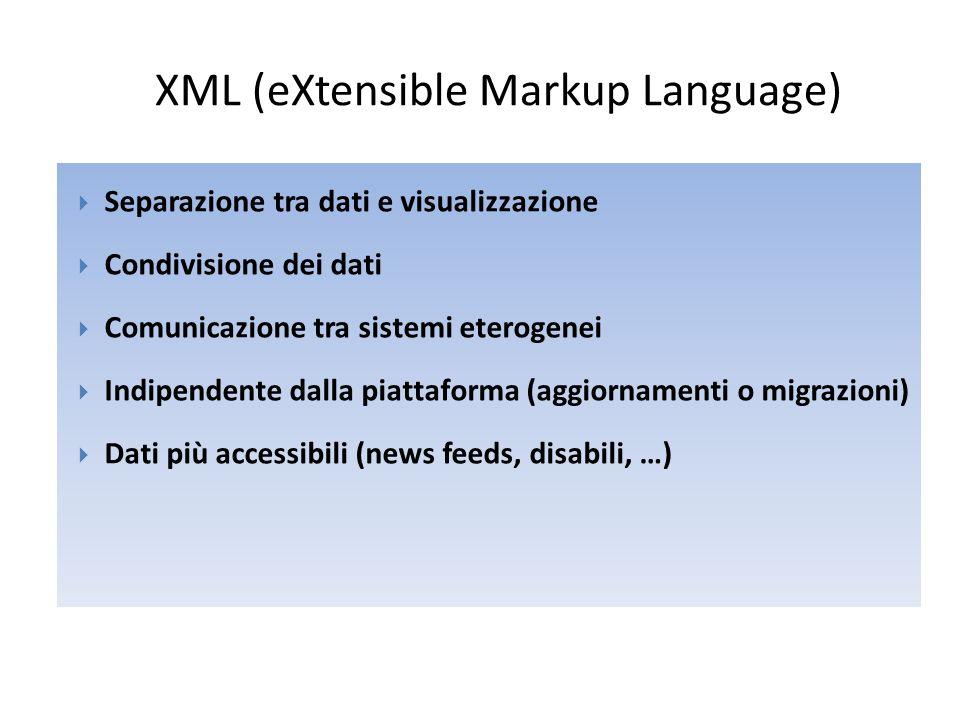 XML (eXtensible Markup Language)  Separazione tra dati e visualizzazione  Condivisione dei dati  Comunicazione tra sistemi eterogenei  Indipendent