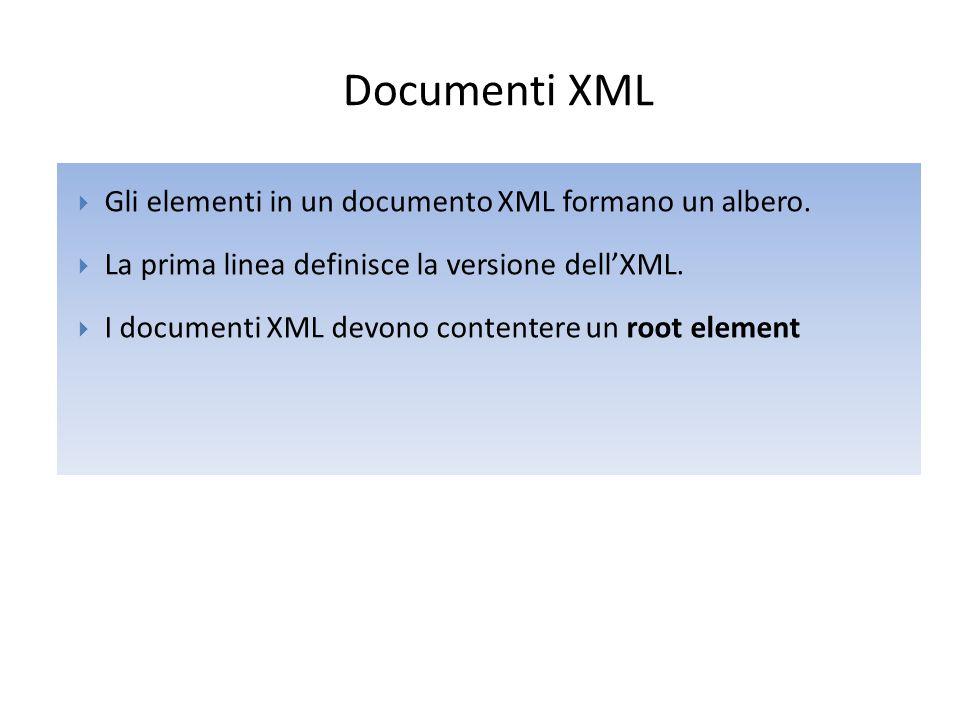Documenti XML  Gli elementi in un documento XML formano un albero.  La prima linea definisce la versione dell'XML.  I documenti XML devono contente