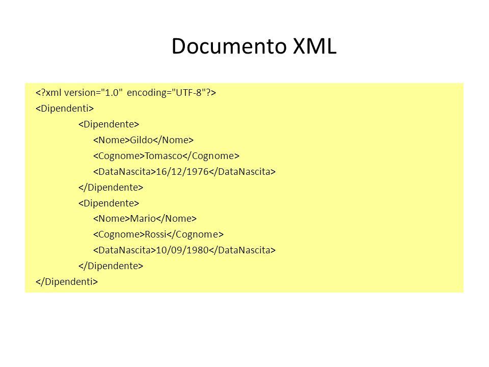 Documento XML Gildo Tomasco 16/12/1976 Mario Rossi 10/09/1980