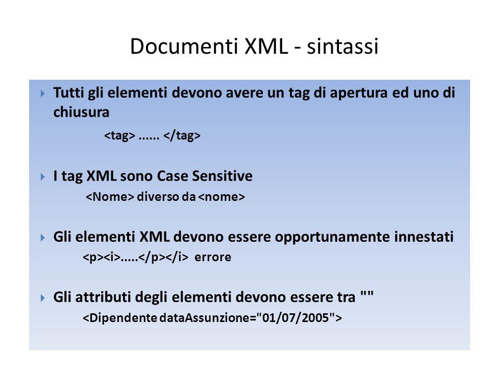 Documenti XML - sintassi  Gli attributi degli elementi devono essere tra  Commenti in XML  Gli spazi bianchi in XML sono preservati  Un XML è Well Formed se rispetta le regole sintattiche http://www.w3schools.com/dom/dom_validate.asp