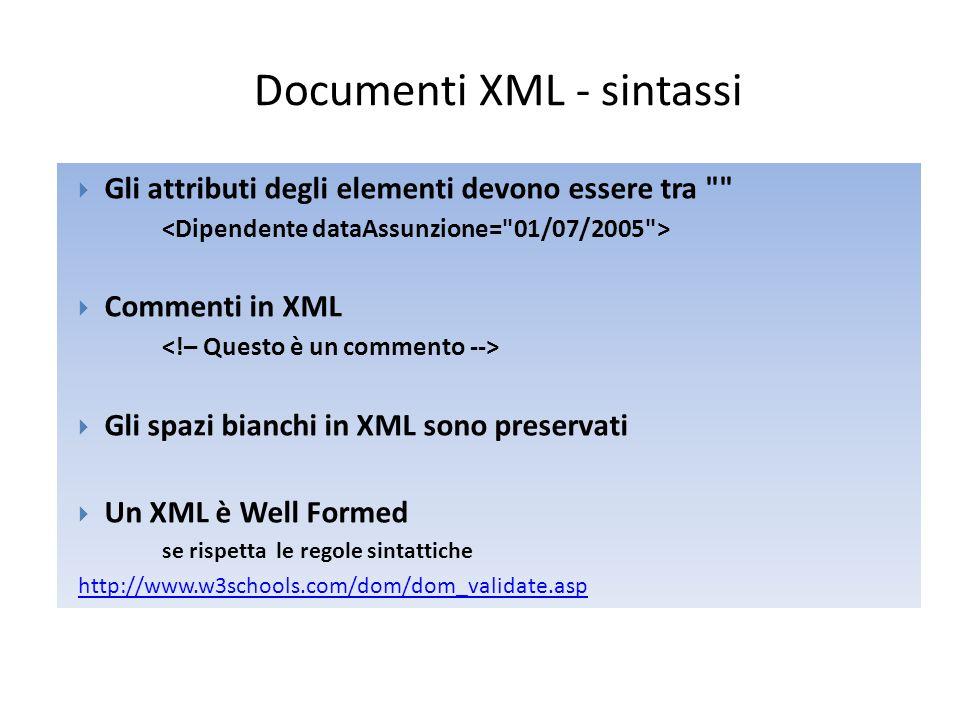 Documenti XML – Elementi e Attributi  Un elemento può contenere ◦ altri elementi ◦ testo ◦ attibuti ◦ o un mix dei precedenti elementi  Gli attributi possono contenere informazioni addizionali che non sono parte dei dati computer.gif