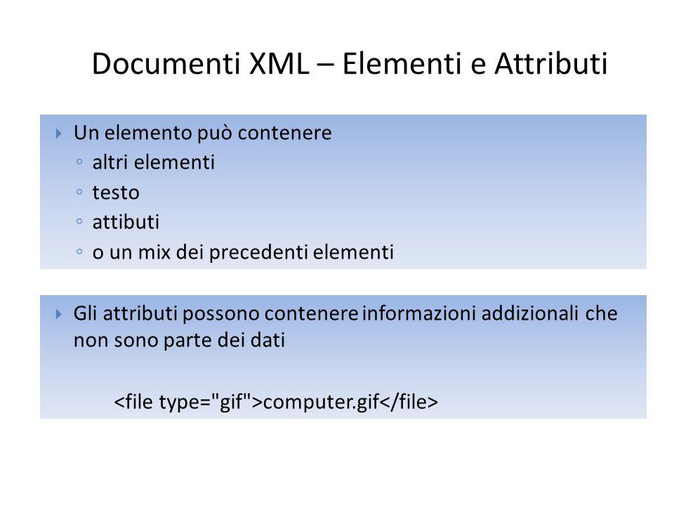 Regole XML Naming Gli elementi XML seguono le seguenti regole:  I nomi degli elementi sono case-sensitive  I nomi degli elementi devono iniziare con una lettera o con un _  I nomi degli elementi non possono iniziare per xml (o XML, o Xml, etc)  I nomi degli elementi possono contenere lettere, numeri, trattini, caratteri di sottolineatura  I nomi degli elementi non possono contenere spazi  Qualsiasi nome puo' essere utilizzato (eccetto xml).