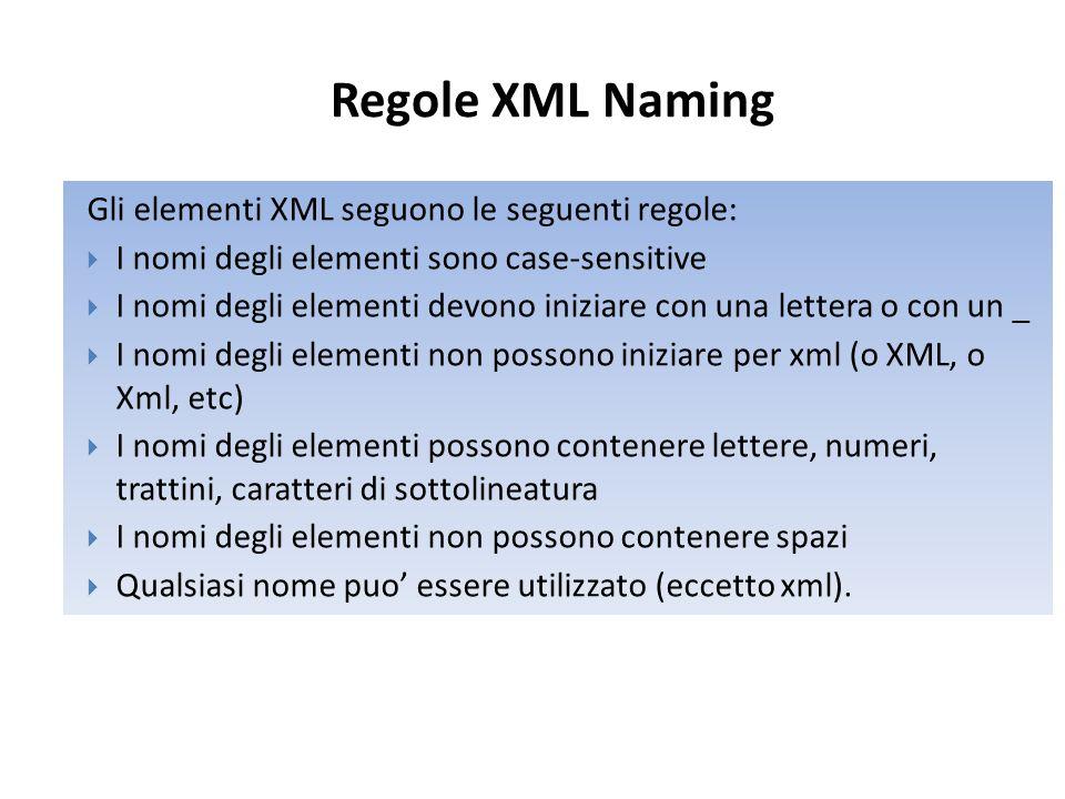 Regole XML Naming Gli elementi XML seguono le seguenti regole:  I nomi degli elementi sono case-sensitive  I nomi degli elementi devono iniziare con