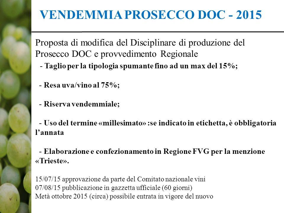 VENDEMMIA PROSECCO DOC - 2015 Proposta di modifica del Disciplinare di produzione del Prosecco DOC e provvedimento Regionale - Taglio per la tipologia spumante fino ad un max del 15%; - Resa uva/vino al 75%; - Riserva vendemmiale; - Uso del termine «millesimato» :se indicato in etichetta, è obbligatoria l'annata - Elaborazione e confezionamento in Regione FVG per la menzione «Trieste».