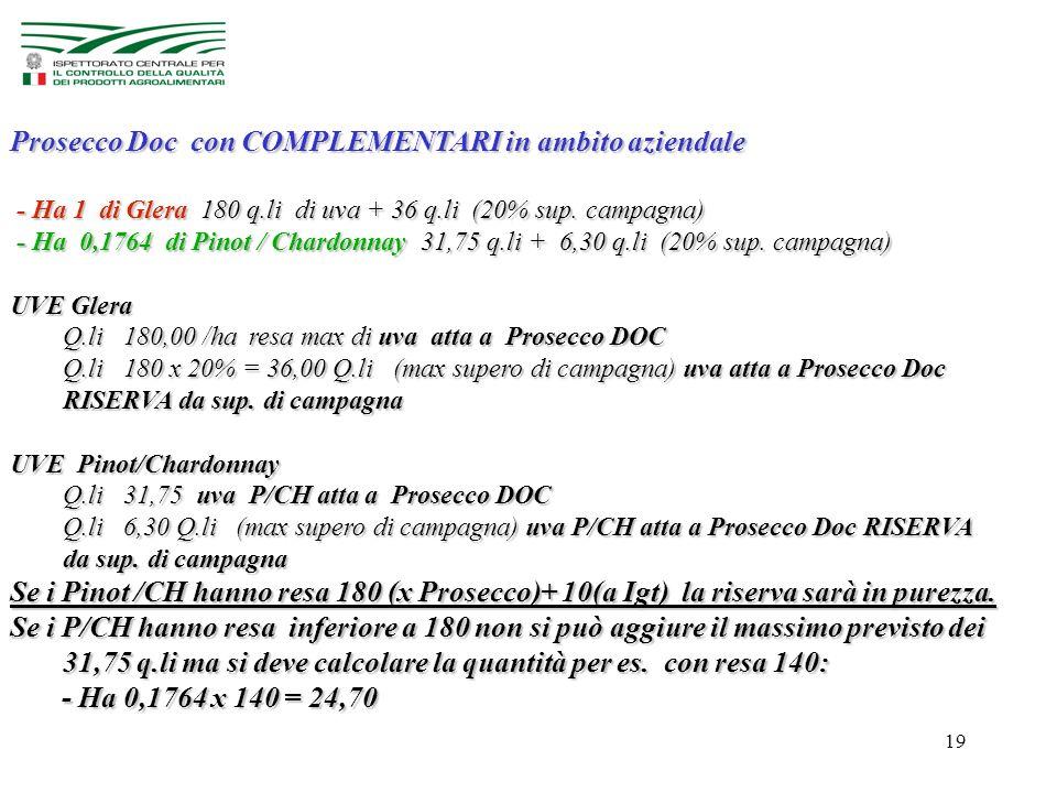 19 Prosecco Doc con COMPLEMENTARI in ambito aziendale - Ha 1 di Glera 180 q.li di uva + 36 q.li (20% sup.