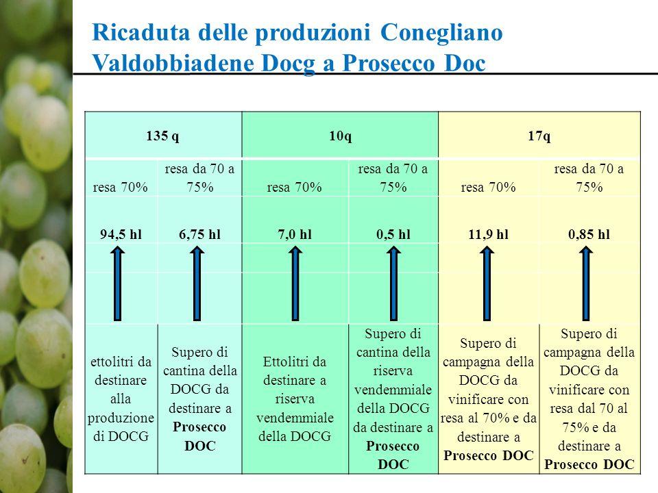 Ricaduta delle produzioni Conegliano Valdobbiadene Docg a Prosecco Doc 135 q10q17q resa 70% resa da 70 a 75%resa 70% resa da 70 a 75%resa 70% resa da 70 a 75% 94,5 hl6,75 hl7,0 hl0,5 hl11,9 hl0,85 hl ettolitri da destinare alla produzione di DOCG Supero di cantina della DOCG da destinare a Prosecco DOC Ettolitri da destinare a riserva vendemmiale della DOCG Supero di cantina della riserva vendemmiale della DOCG da destinare a Prosecco DOC Supero di campagna della DOCG da vinificare con resa al 70% e da destinare a Prosecco DOC Supero di campagna della DOCG da vinificare con resa dal 70 al 75% e da destinare a Prosecco DOC
