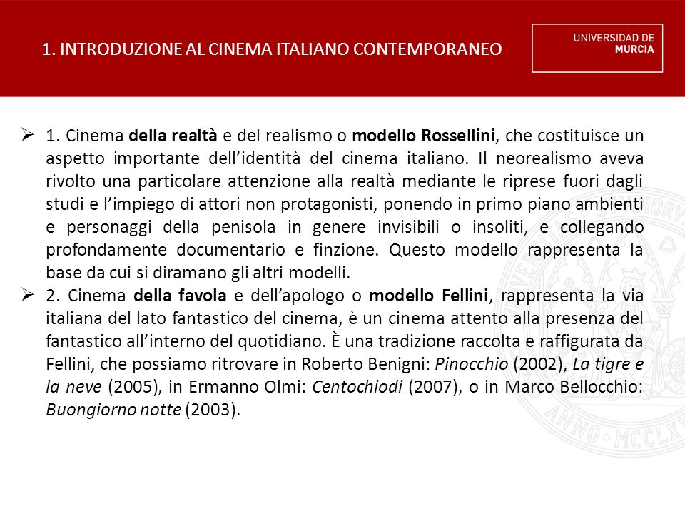 1.INTRODUZIONE AL CINEMA ITALIANO CONTEMPORANEO  3.