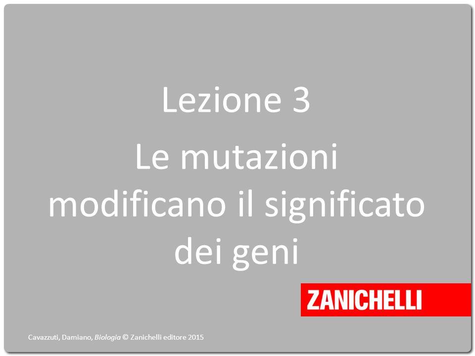 Lezione 3 Le mutazioni modificano il significato dei geni Cavazzuti, Damiano, Biologia © Zanichelli editore 2015