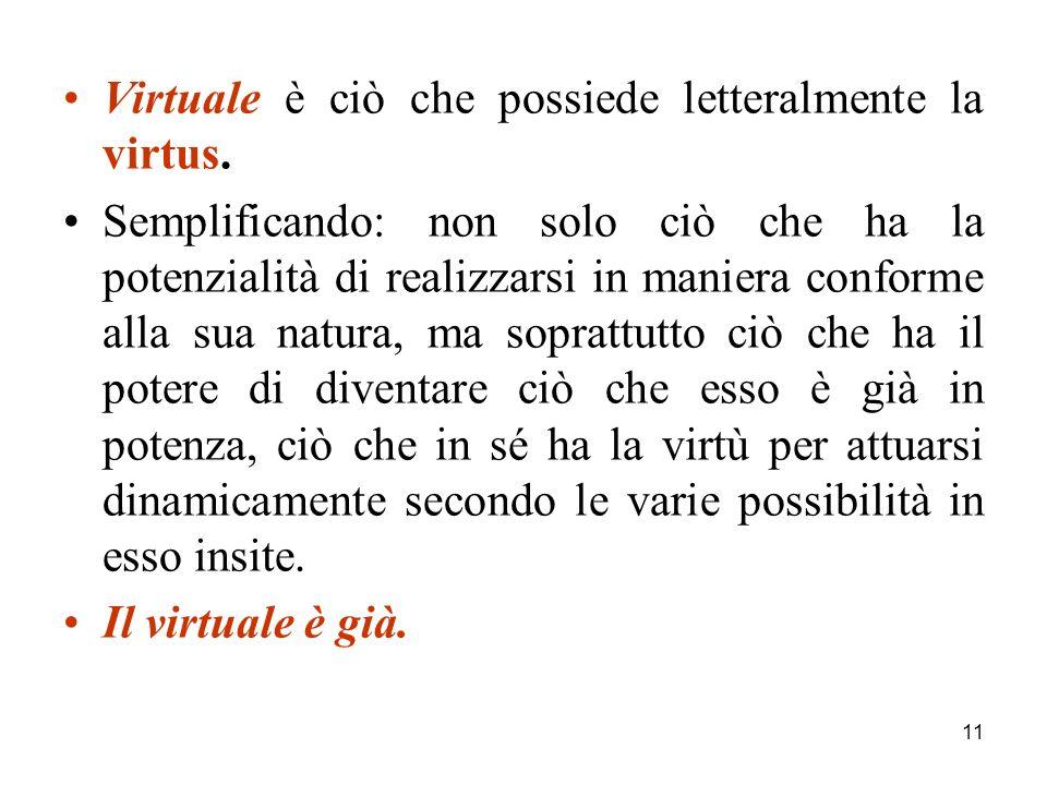 11 Virtuale è ciò che possiede letteralmente la virtus.
