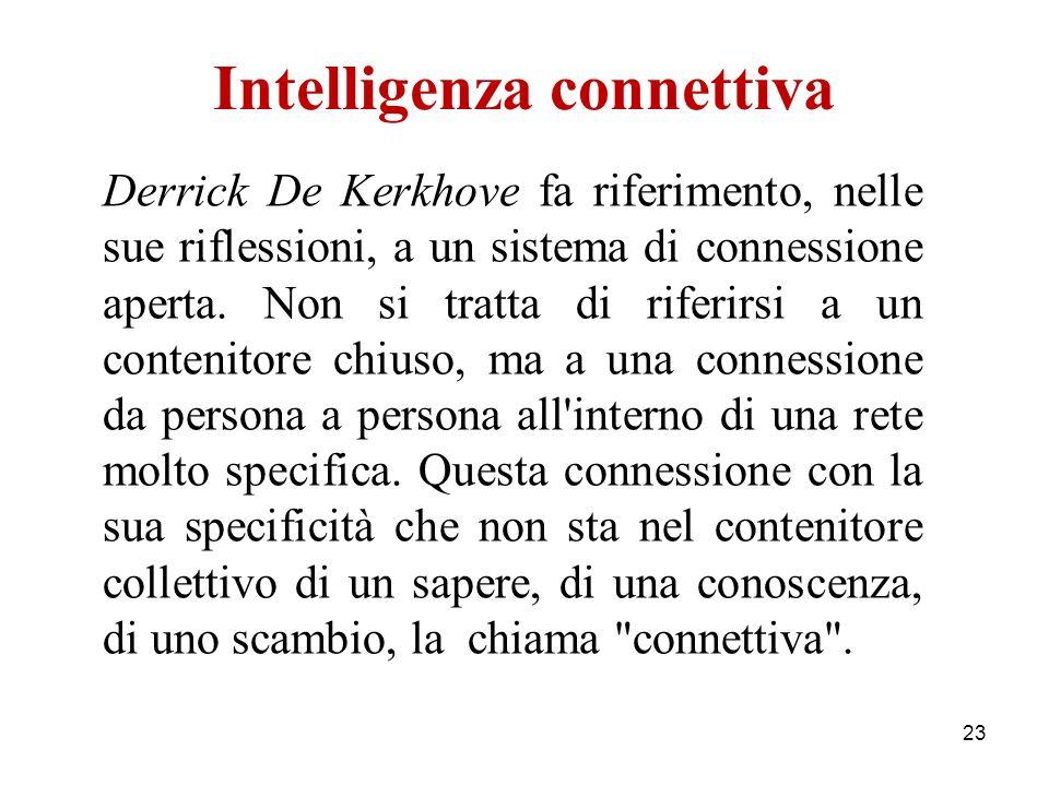 Intelligenza connettiva Derrick De Kerkhove fa riferimento, nelle sue riflessioni, a un sistema di connessione aperta.